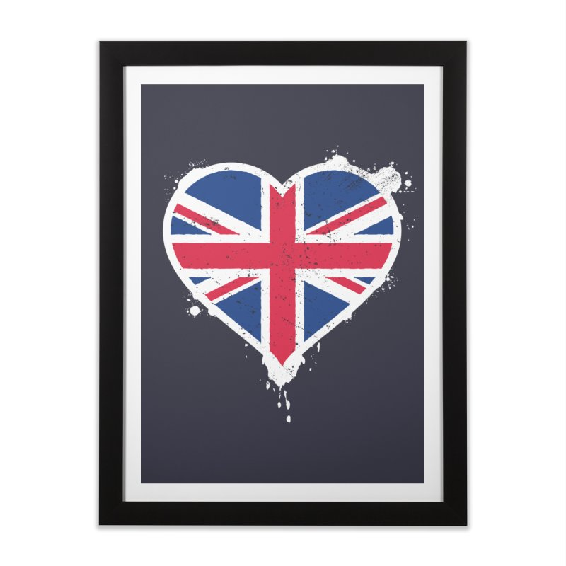 Union Jack Flag Heart Home Framed Fine Art Print by zoljo's Artist Shop
