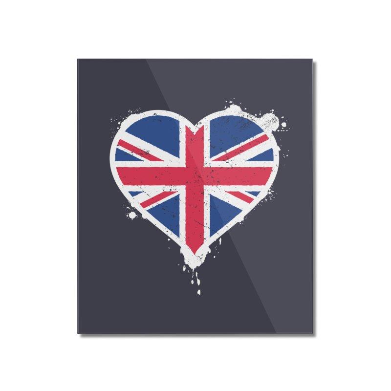 Union Jack Flag Heart Home Mounted Acrylic Print by zoljo's Artist Shop