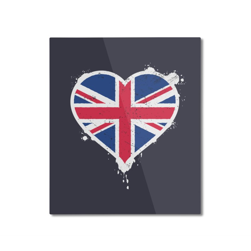 Union Jack Flag Heart Home Mounted Aluminum Print by zoljo's Artist Shop