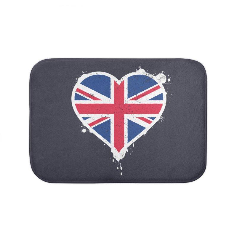 Union Jack Flag Heart Home Bath Mat by zoljo's Artist Shop