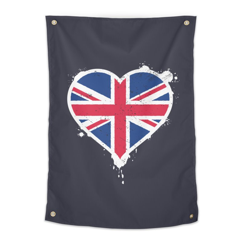 Union Jack Flag Heart Home Tapestry by zoljo's Artist Shop