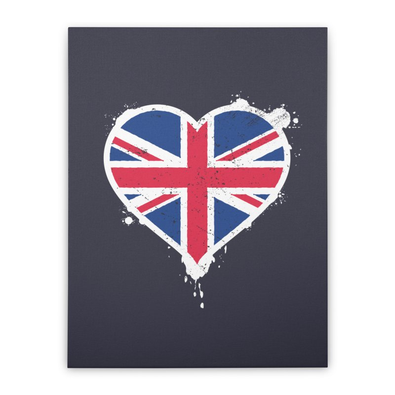 Union Jack Flag Heart Home Stretched Canvas by zoljo's Artist Shop