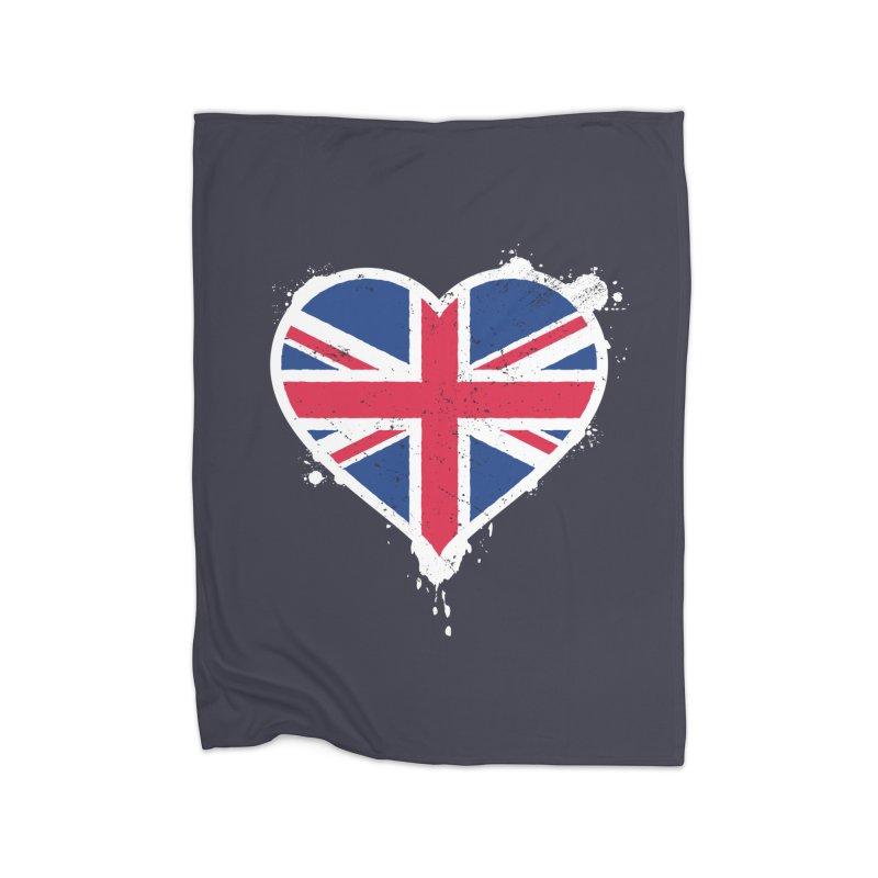 Union Jack Flag Heart Home Fleece Blanket Blanket by zoljo's Artist Shop