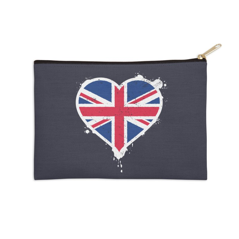 Union Jack Flag Heart Accessories Zip Pouch by zoljo's Artist Shop