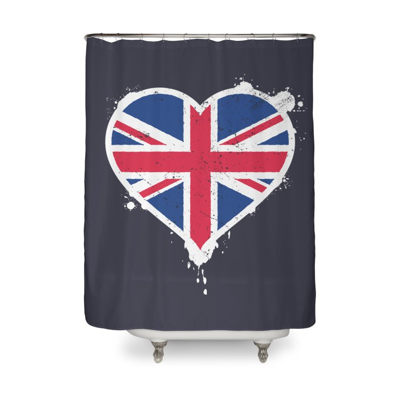 Union Jack Flag Heart Home Shower Curtain by zoljo's Artist Shop