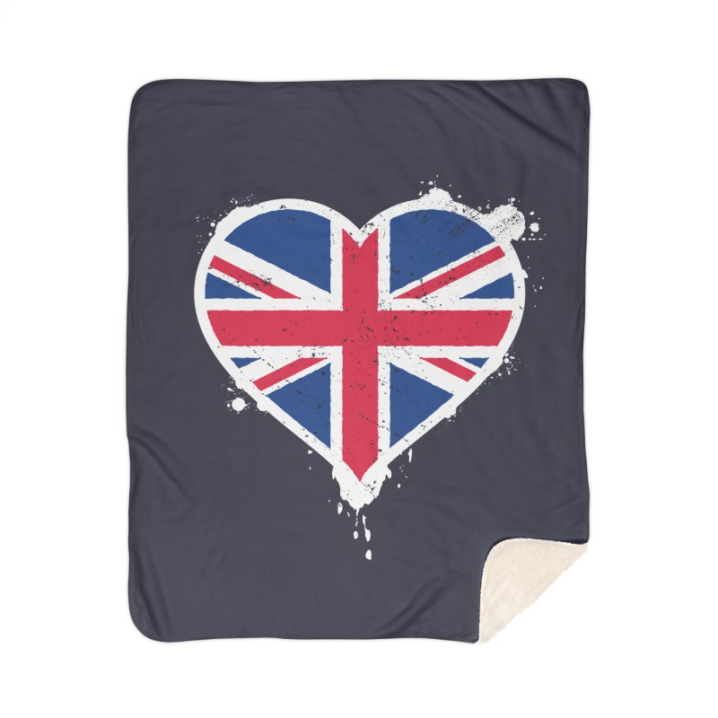 Union Jack Flag Heart Home Sherpa Blanket Blanket by zoljo's Artist Shop
