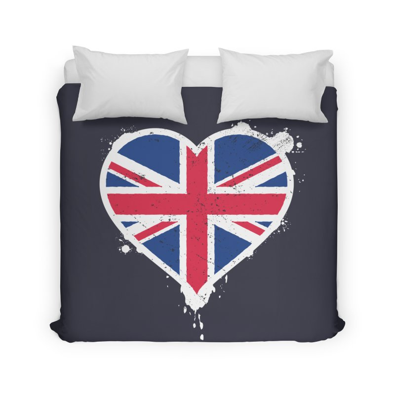 Union Jack Flag Heart Home Duvet by zoljo's Artist Shop