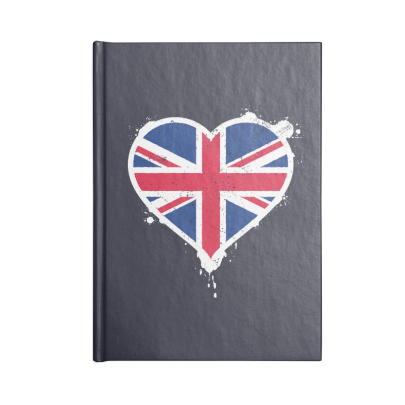Union Jack Flag Heart Accessories Blank Journal Notebook by zoljo's Artist Shop