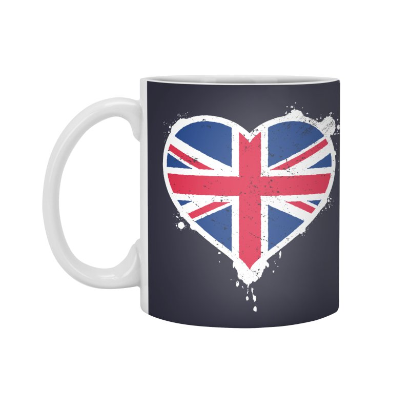 Union Jack Flag Heart Accessories Standard Mug by zoljo's Artist Shop