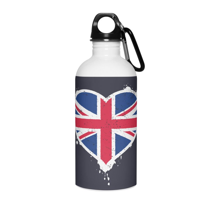 Union Jack Flag Heart Accessories Water Bottle by zoljo's Artist Shop