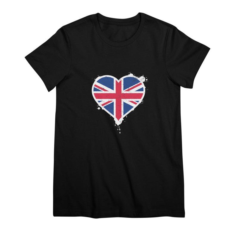 Union Jack Flag Heart Women's Premium T-Shirt by zoljo's Artist Shop