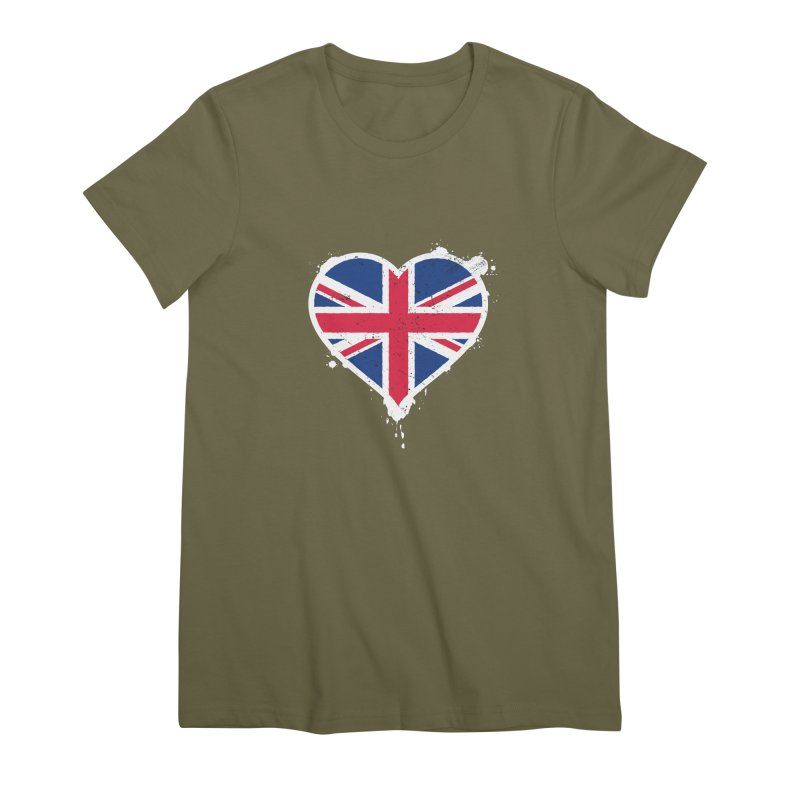Union Jack Flag Heart Women's Premium T-Shirt by zoljo's Artist Shop