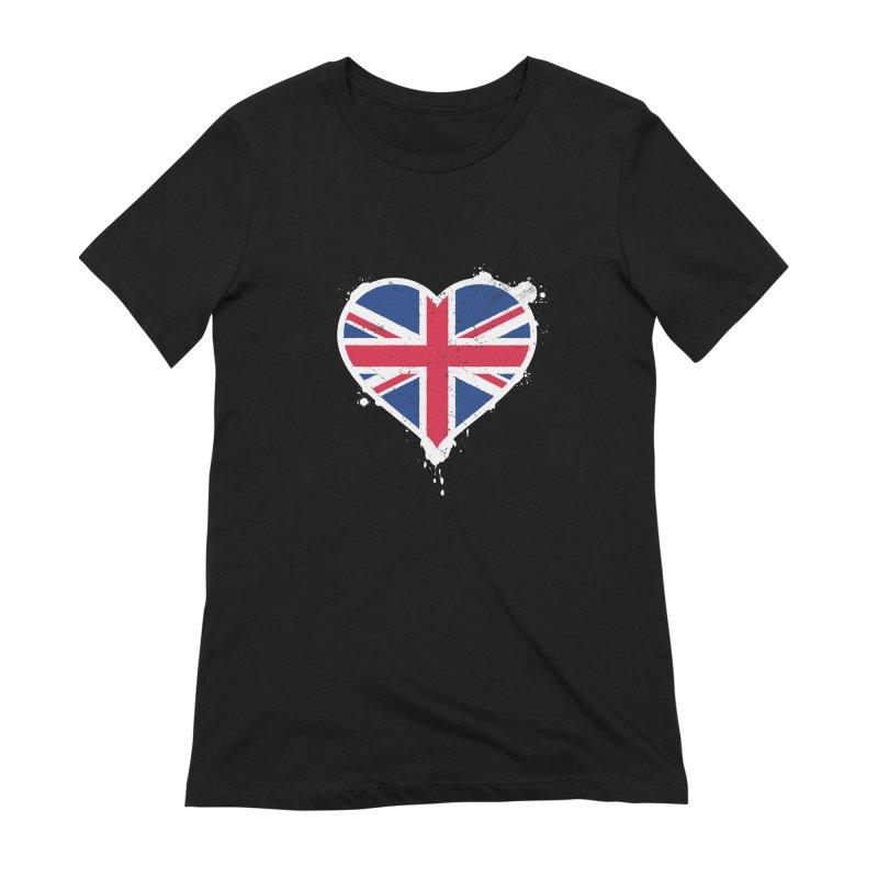 Union Jack Flag Heart Women's Extra Soft T-Shirt by zoljo's Artist Shop