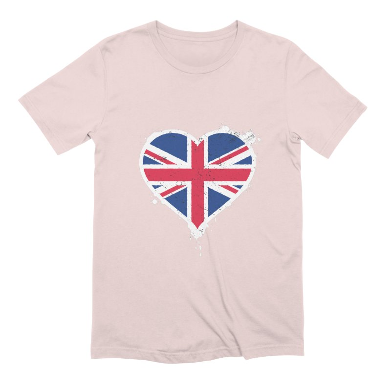 Union Jack Flag Heart Men's Extra Soft T-Shirt by zoljo's Artist Shop