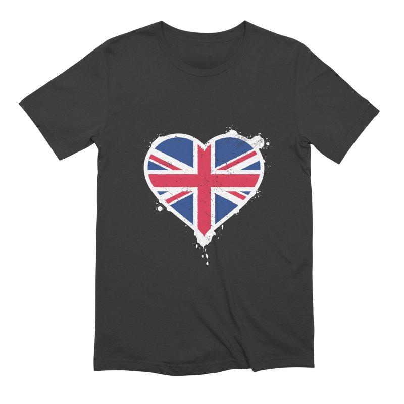 Union Jack Flag Heart Men's Extra Soft T-Shirt by zoljo's Artist Shop