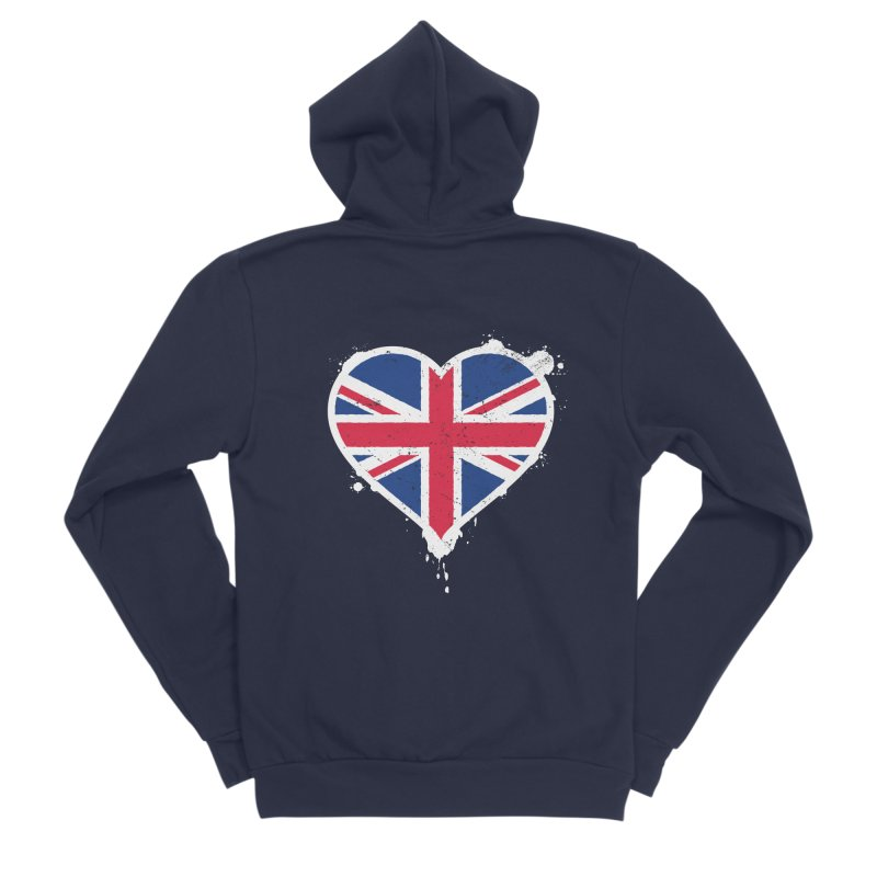 Union Jack Flag Heart Women's Sponge Fleece Zip-Up Hoody by zoljo's Artist Shop