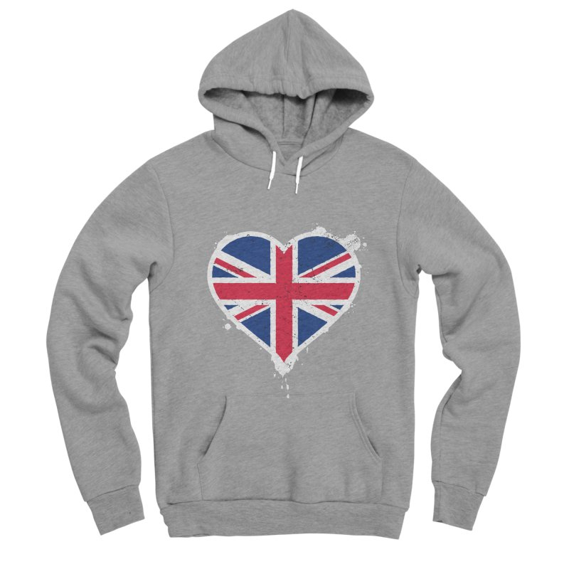 Union Jack Flag Heart Women's Sponge Fleece Pullover Hoody by zoljo's Artist Shop
