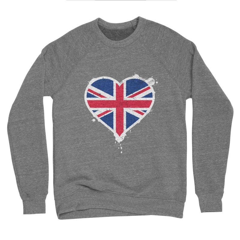 Union Jack Flag Heart Men's Sponge Fleece Sweatshirt by zoljo's Artist Shop