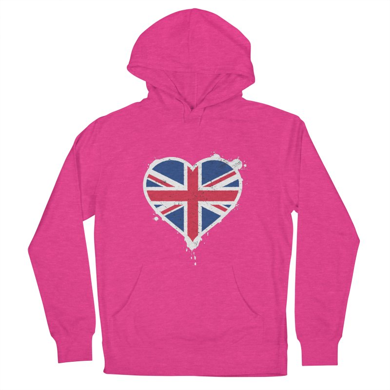 Union Jack Flag Heart Women's French Terry Pullover Hoody by zoljo's Artist Shop