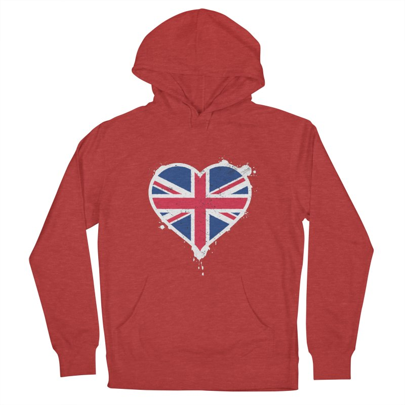 Union Jack Flag Heart Men's French Terry Pullover Hoody by zoljo's Artist Shop