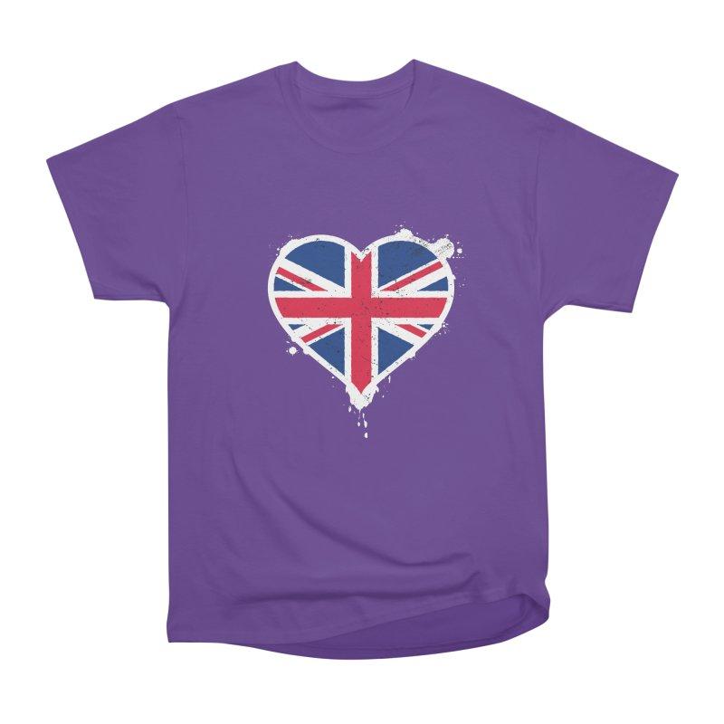 Union Jack Flag Heart Women's Heavyweight Unisex T-Shirt by zoljo's Artist Shop