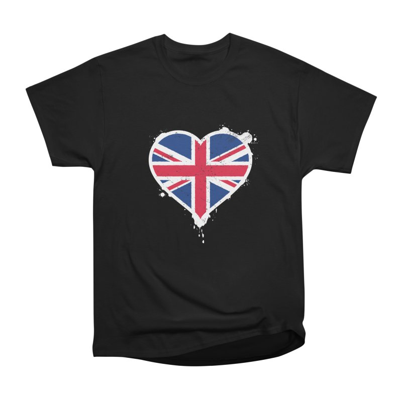 Union Jack Flag Heart Men's Heavyweight T-Shirt by zoljo's Artist Shop