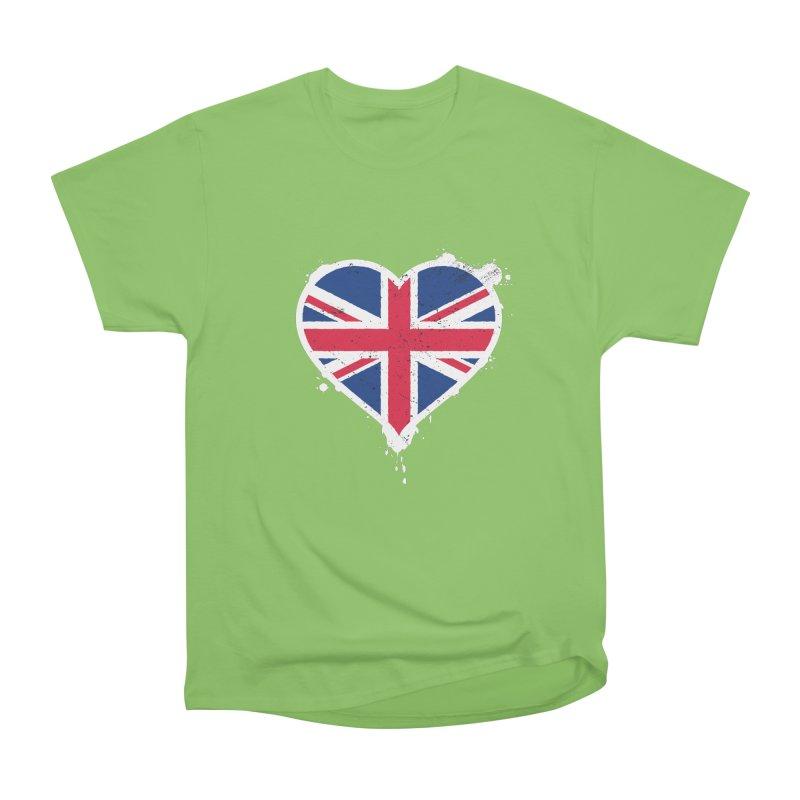 Union Jack Flag Heart Men's Heavyweight T-Shirt by zoljo's Artist Shop