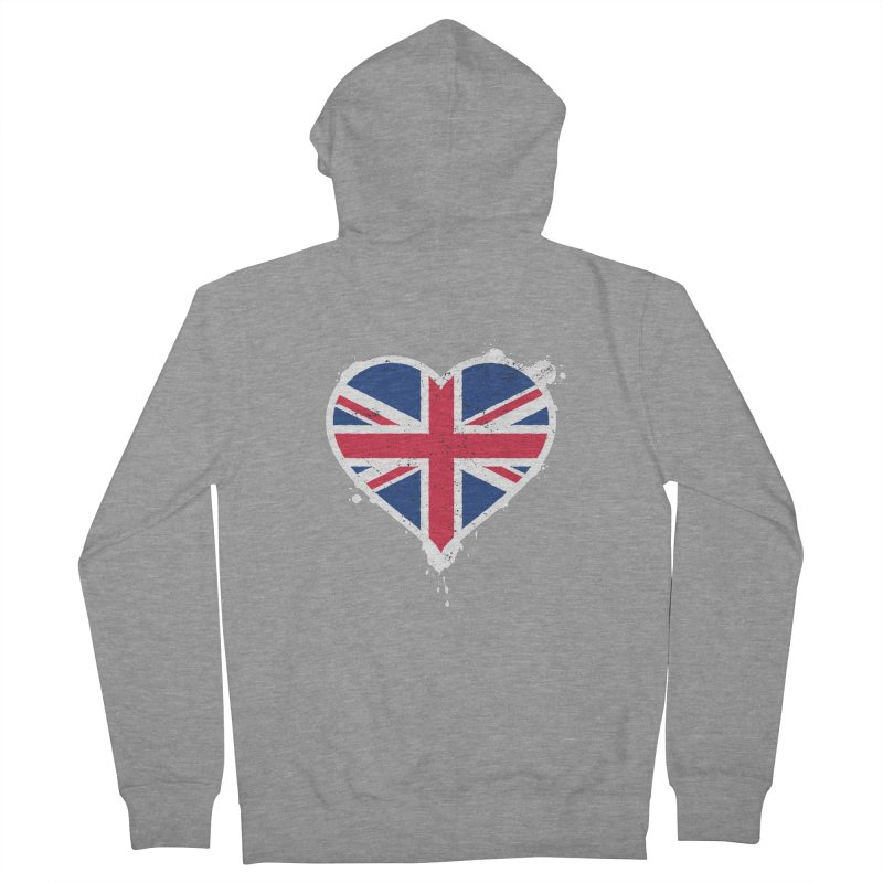 Union Jack Flag Heart Men's French Terry Zip-Up Hoody by zoljo's Artist Shop