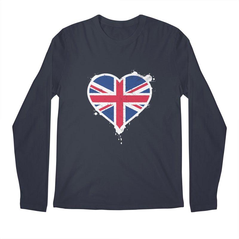 Union Jack Flag Heart Men's Regular Longsleeve T-Shirt by zoljo's Artist Shop