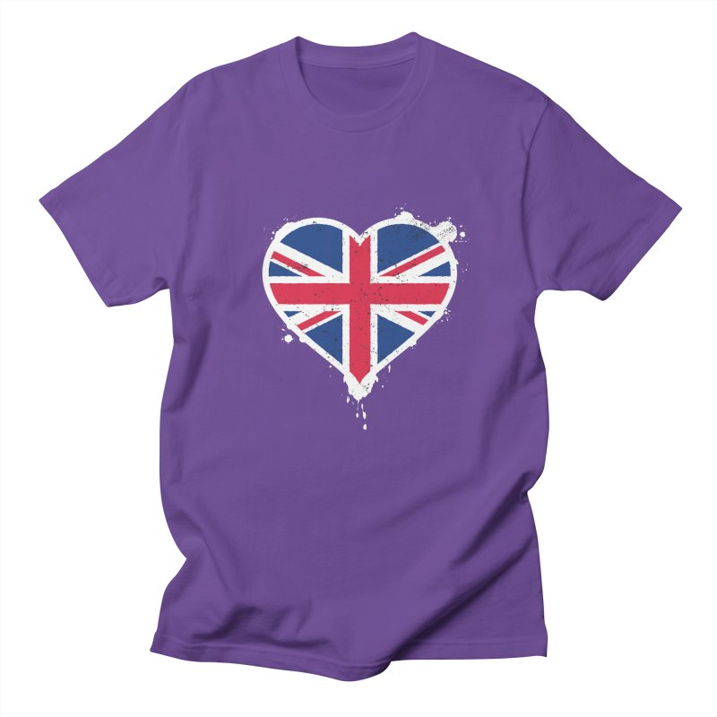 Union Jack Flag Heart Women's Regular Unisex T-Shirt by zoljo's Artist Shop