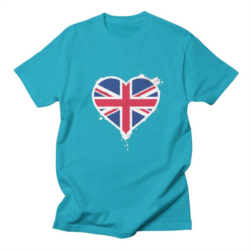 Union Jack Flag Heart Men's Regular T-Shirt by zoljo's Artist Shop