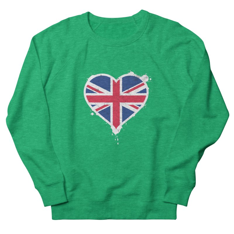 Union Jack Flag Heart Women's French Terry Sweatshirt by zoljo's Artist Shop