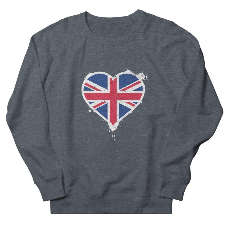 Union Jack Flag Heart Women's French Terry Sweatshirt by zoljo's Artist Shop