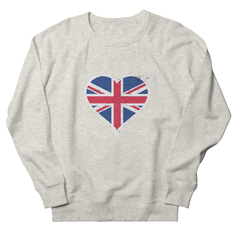 Union Jack Flag Heart Men's French Terry Sweatshirt by zoljo's Artist Shop