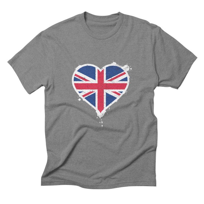 Union Jack Flag Heart Men's Triblend T-Shirt by zoljo's Artist Shop
