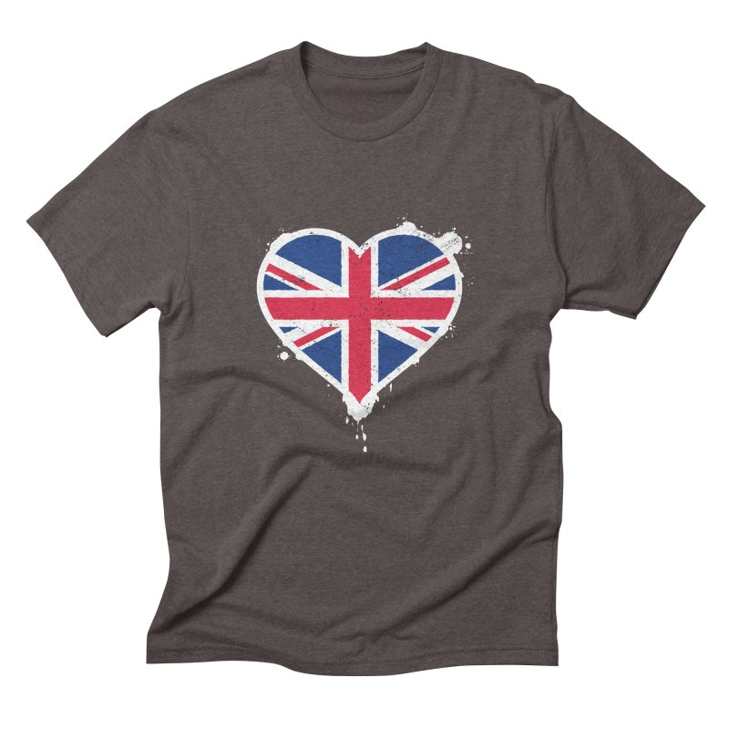 Union Jack Flag Heart Men's Triblend T-Shirt by zoljo's Artist Shop