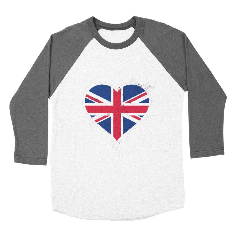 Union Jack Flag Heart Women's Baseball Triblend Longsleeve T-Shirt by zoljo's Artist Shop