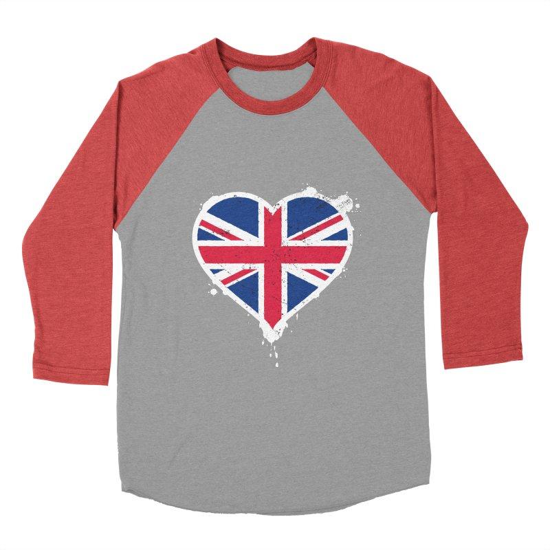 Union Jack Flag Heart Men's Baseball Triblend Longsleeve T-Shirt by zoljo's Artist Shop