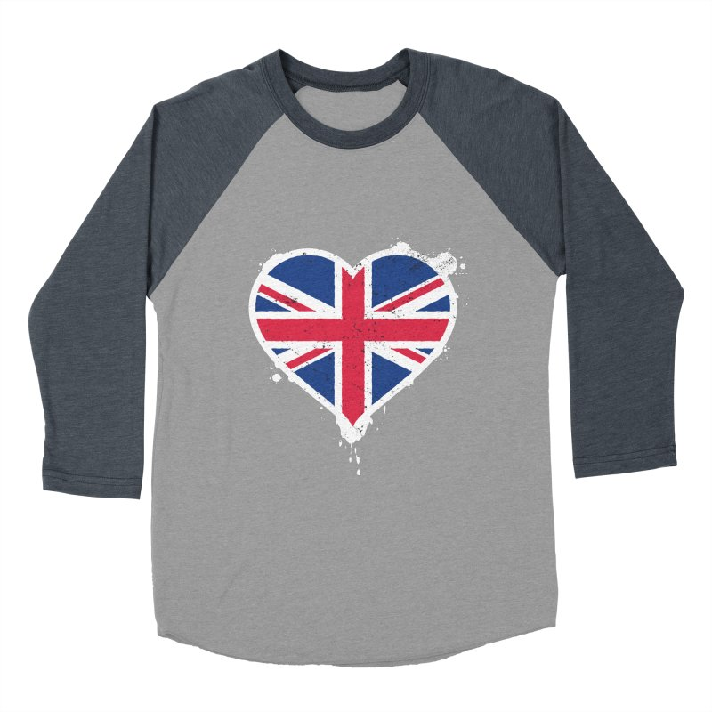 Union Jack Flag Heart Men's Baseball Triblend Longsleeve T-Shirt by zoljo's Artist Shop
