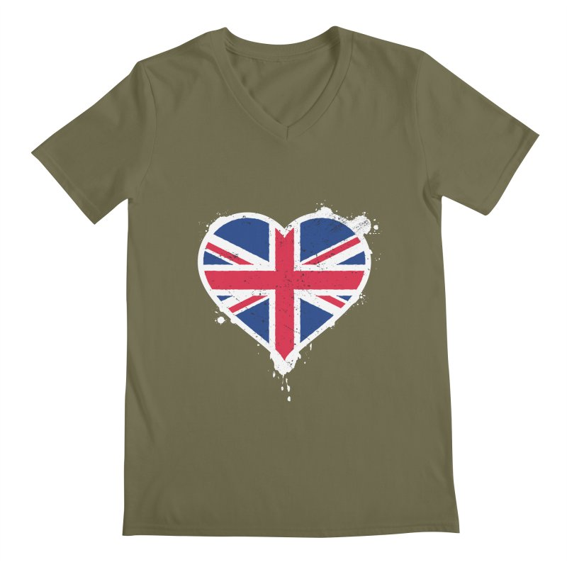Union Jack Flag Heart Men's Regular V-Neck by zoljo's Artist Shop