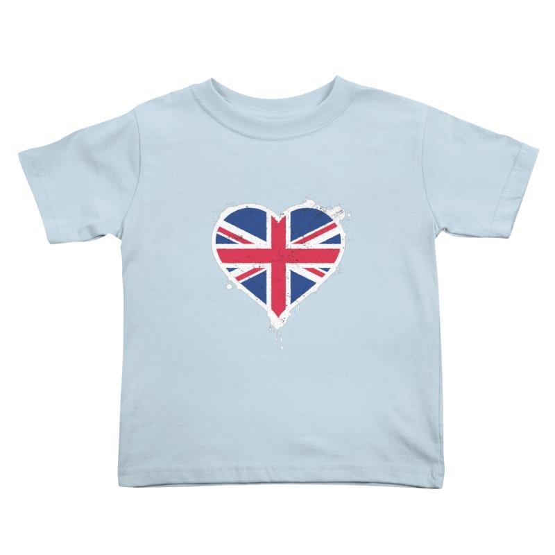 Union Jack Flag Heart Kids Toddler T-Shirt by zoljo's Artist Shop