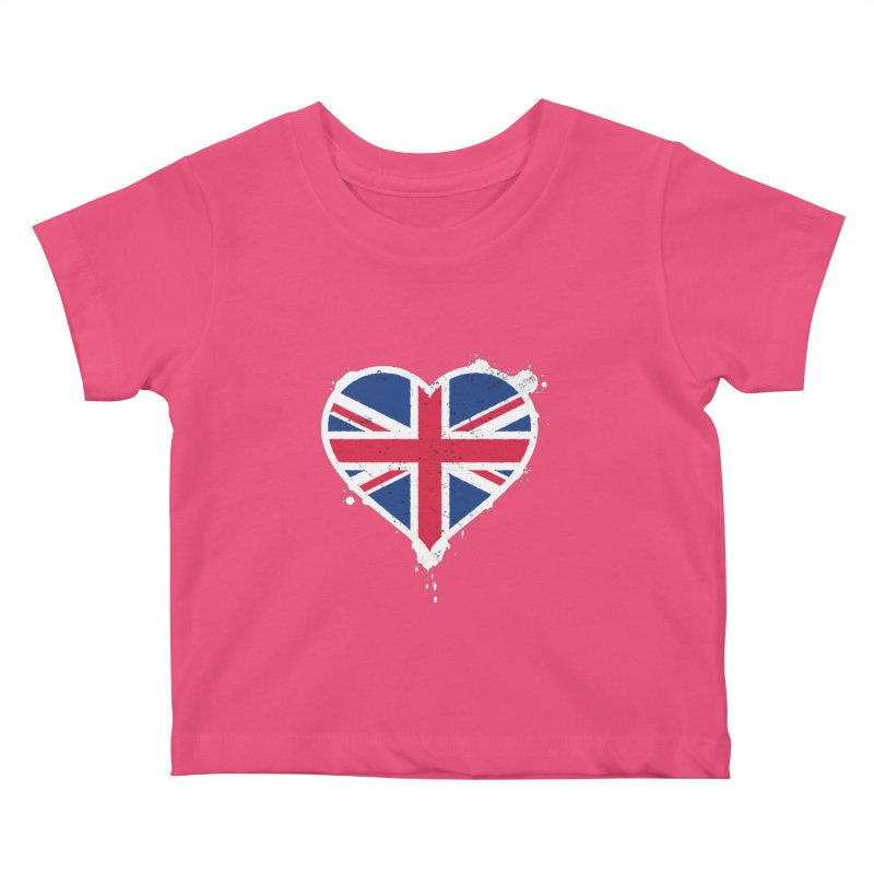 Union Jack Flag Heart Kids Baby T-Shirt by zoljo's Artist Shop
