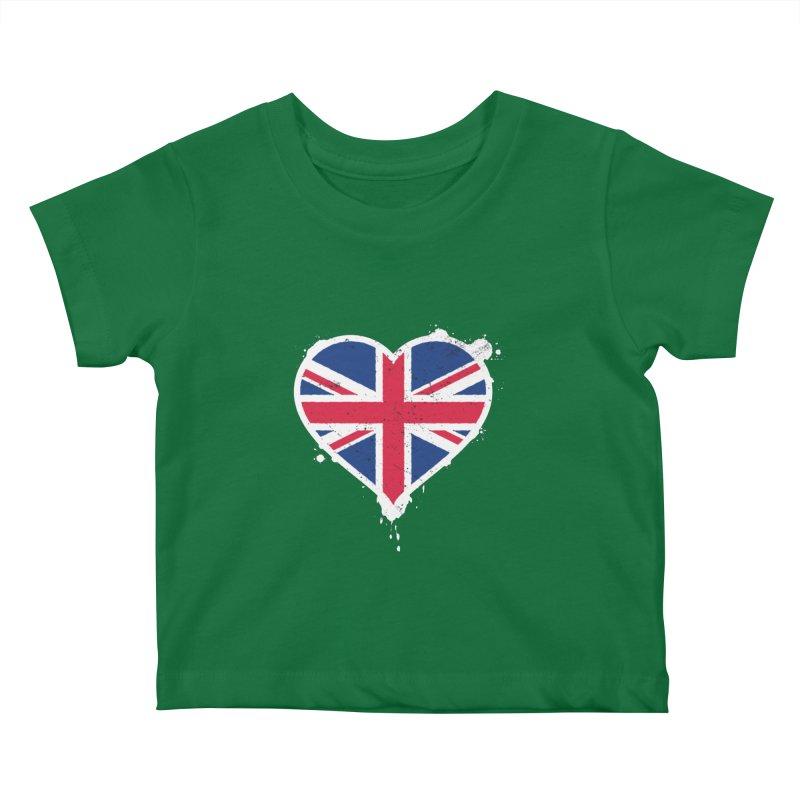 Union Jack Flag Heart Kids Baby T-Shirt by zoljo's Artist Shop