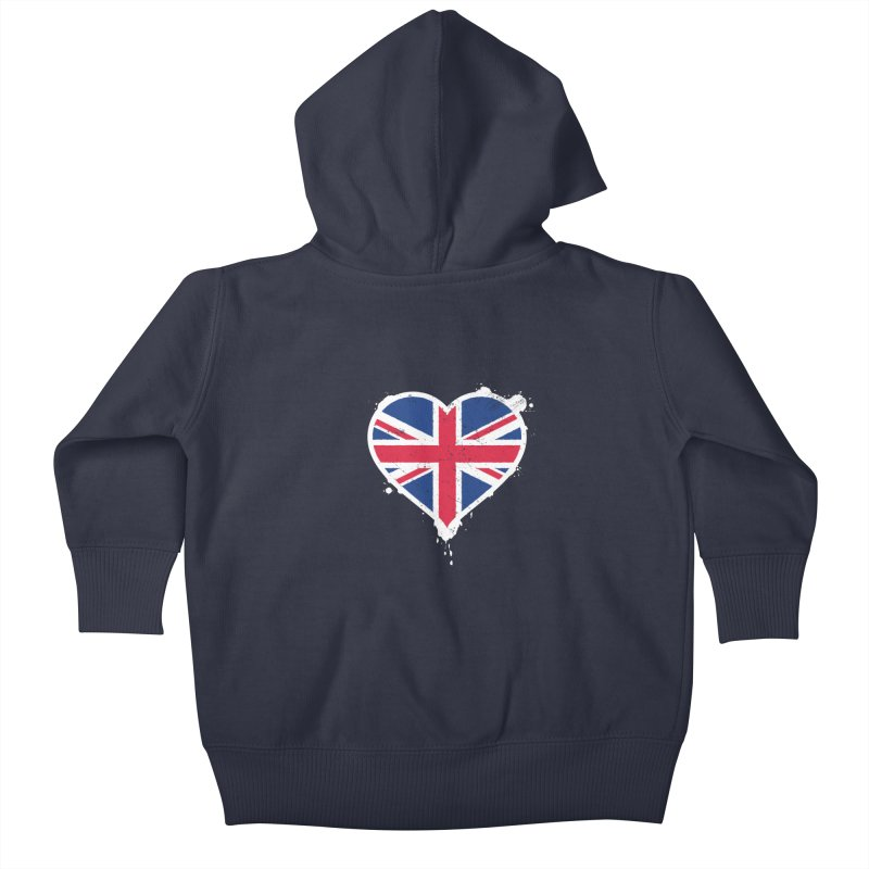 Union Jack Flag Heart Kids Baby Zip-Up Hoody by zoljo's Artist Shop