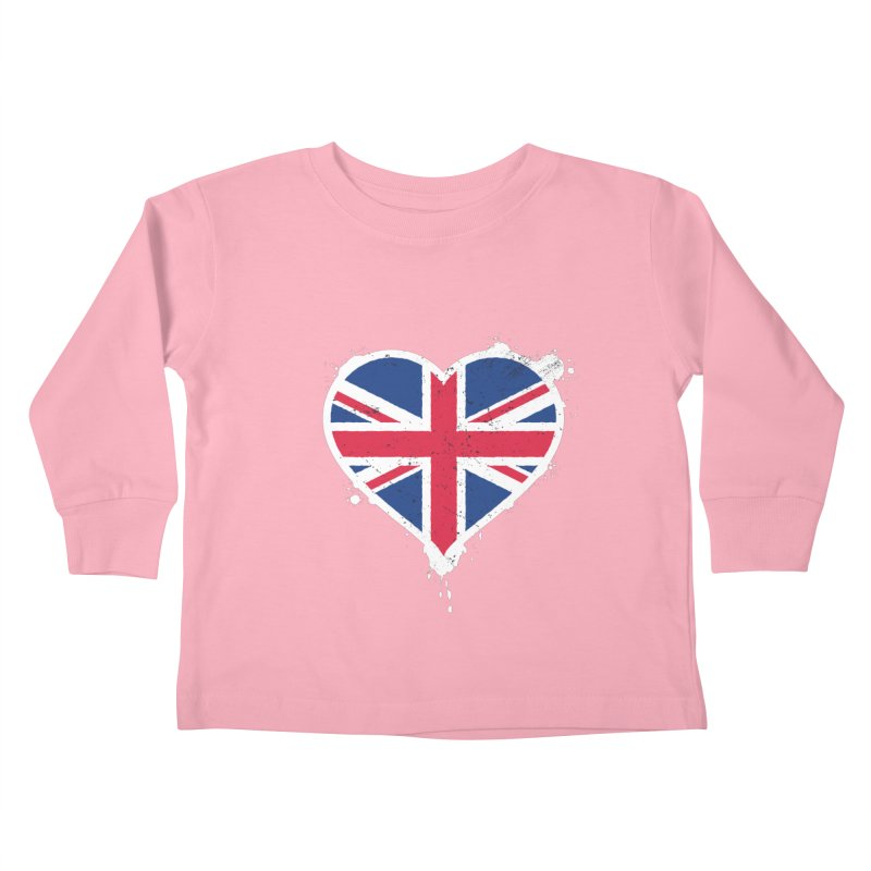 Union Jack Flag Heart Kids Toddler Longsleeve T-Shirt by zoljo's Artist Shop