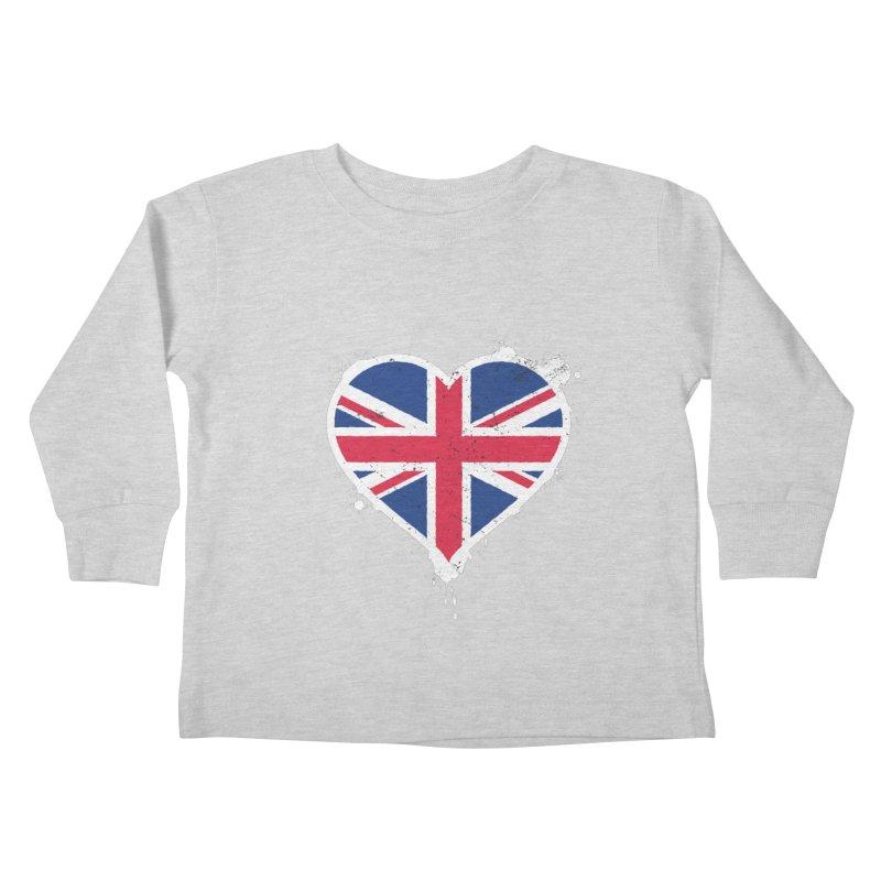 Union Jack Flag Heart Kids Toddler Longsleeve T-Shirt by zoljo's Artist Shop