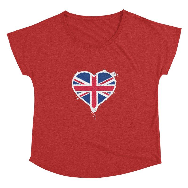 Union Jack Flag Heart Women's Dolman Scoop Neck by zoljo's Artist Shop