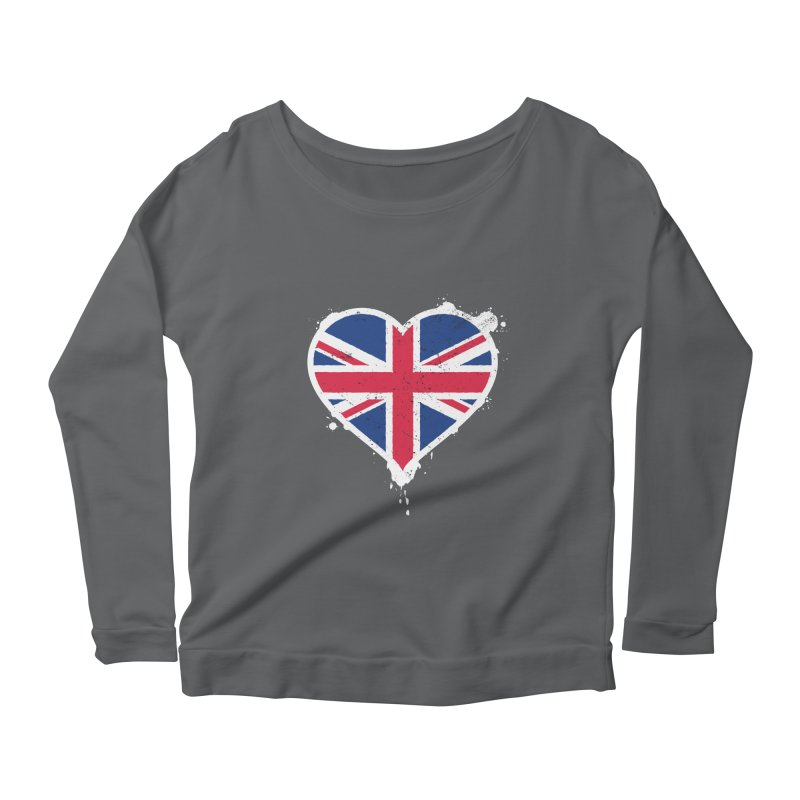 Union Jack Flag Heart Women's Scoop Neck Longsleeve T-Shirt by zoljo's Artist Shop
