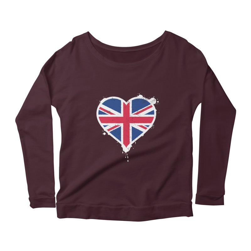 Union Jack Flag Heart Women's Scoop Neck Longsleeve T-Shirt by zoljo's Artist Shop