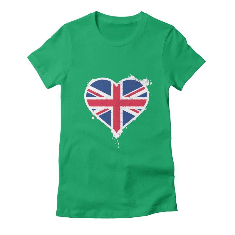 Union Jack Flag Heart Women's Fitted T-Shirt by zoljo's Artist Shop